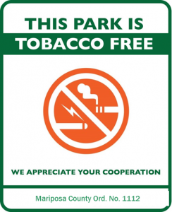 Mariposa County Health Department tobacco-free park mariposa sign example