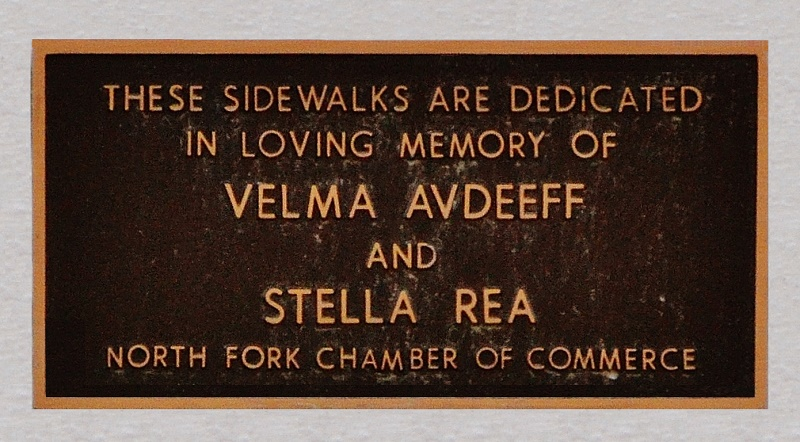 Sidewalk plaque for Velma Avdeeff and Stella Rea