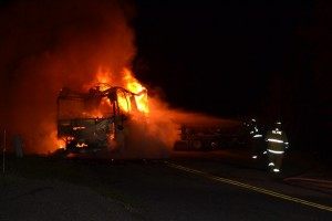 Firefighters at RV Fire on Road 222 - photo by Gina Clugston
