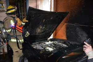 Scorched wall in carport from car fire on Chipo Poyah