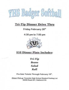 YHS Badger Softball Tri Tip Drive Thru Spring 2016