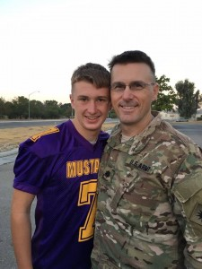 Aaron Hall with his dad Lt. Col. David Hall the day before the elder Hall deployed overseas in 2015