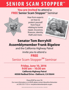 Senior Scam Stopper Berryhill flyer May 31 2016