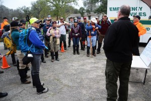 Sheriff Varney addresses the SAR volunteers before mock search - photo by Gina Clugston