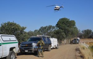 Helicopter at staging area for marijuana eradication - photo by Gina Clugston