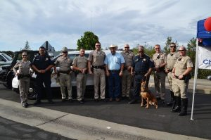 CHP Officers and Frank Bigelow at National Night Out Aug 4, 2015 - photo by Gina Clugston