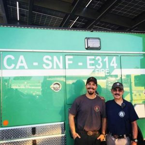 Erin and Michael Capuchino -- Michael runs into his uncle Augie on the Sand Fire 2016 courtesy Erin Capuchino