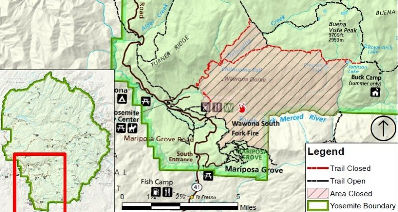 Fire Map Yosemite.Trail Closures South Fork Fire Map