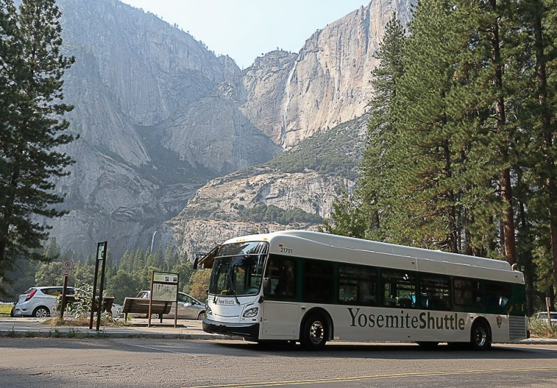 Yosemite Shuttle Bus At Falls Photo Nps