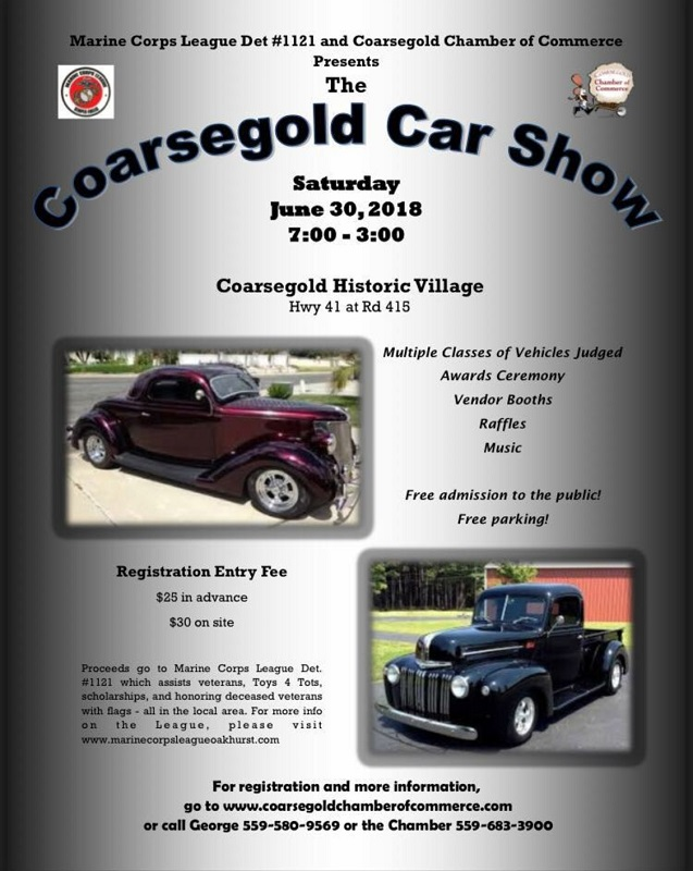 Coarsegold Car Show June - Toys for tots car show 2018