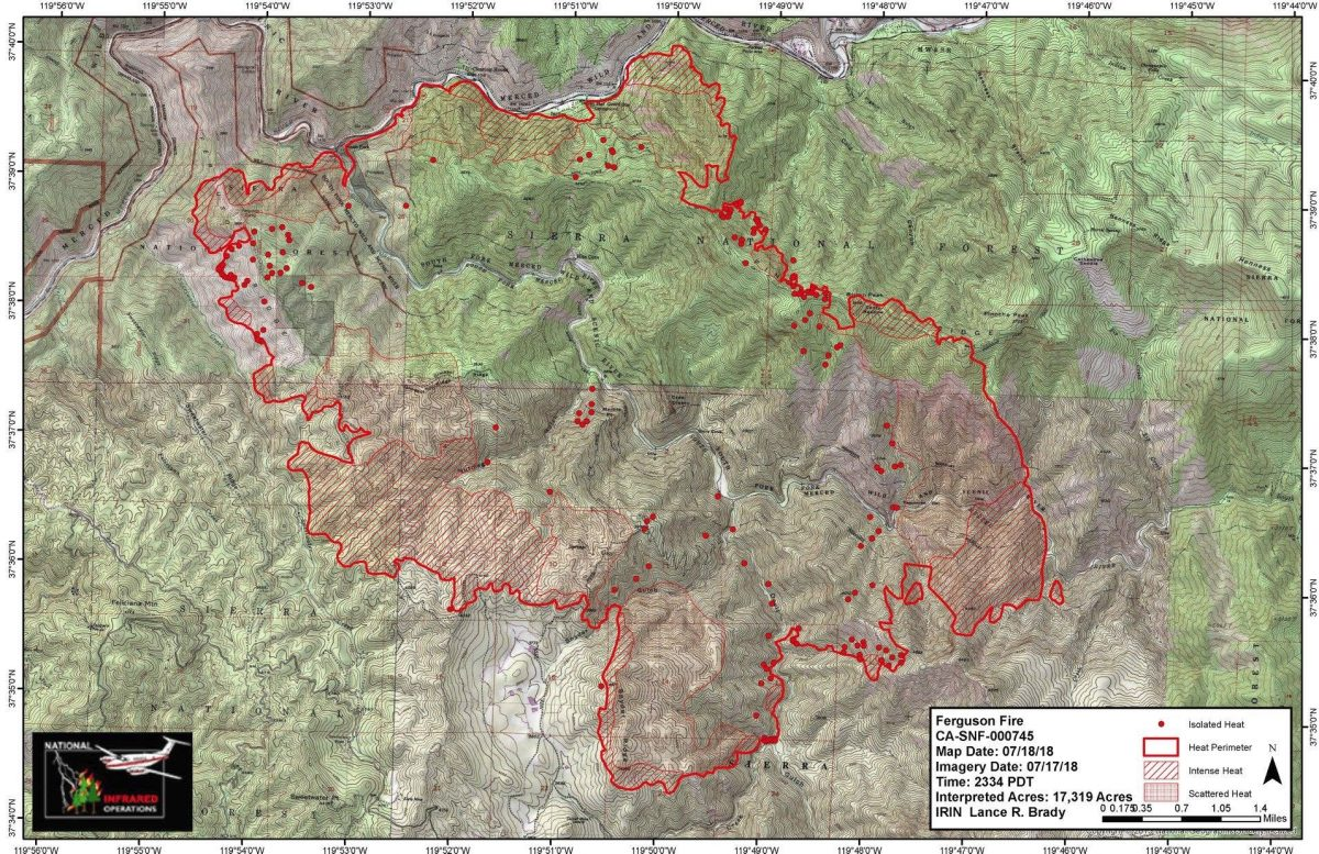 Cal Oes Fire Map.Ferguson Fire Grows To Over 17 000 Acres Sierra News Online