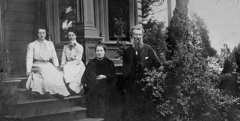 John Muir with wife Louie (Louisa) and daughters Helen and Wanda on the front steps of the Martinez home. NPS photo.
