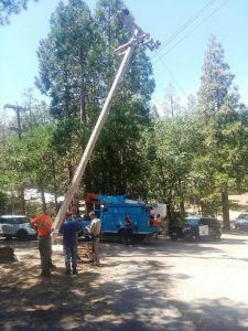 CHP and PG&E workers inspecting downed power line.