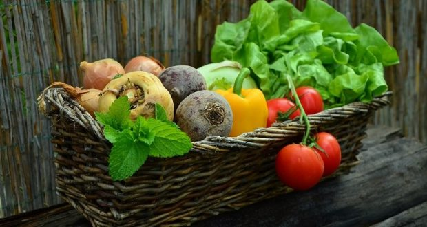 Picture of a basket of vegetables.