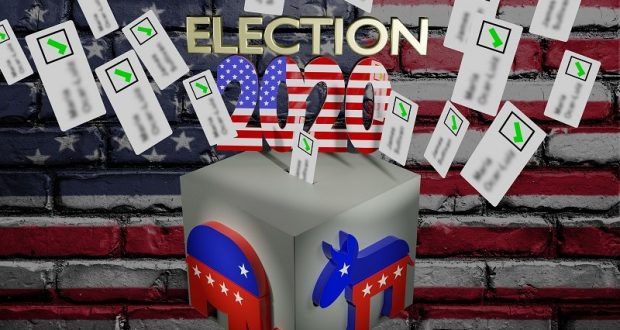 Picture of an elephant, a donkey, and a ballot box.