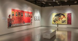 Image of a Hung Liu exhibit at the Fresno Art Museum.