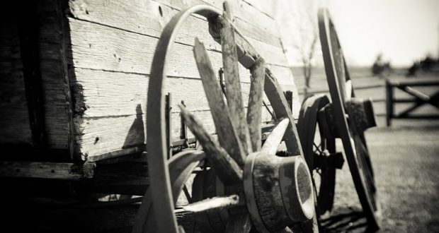 Image of old west wagon wheels.