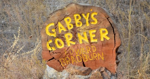 Image of the wooden sign that used to be in front of Gabby's Place.