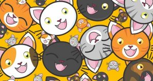 Image of a bunch of cartoon cat faces.