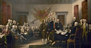 Image of John Trumbull's painting of the Declaration of Independence.