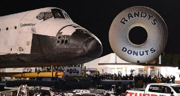 Image of Randy's Donuts and the space shuttle Endeavor.