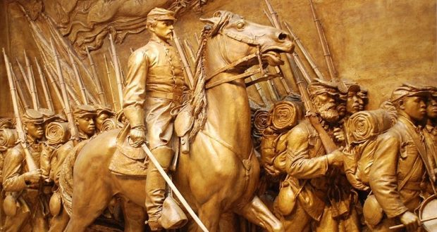 Image of the Shaw Memorial Relief Sculpture.