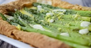 Image of a cheesy asparagus tart.