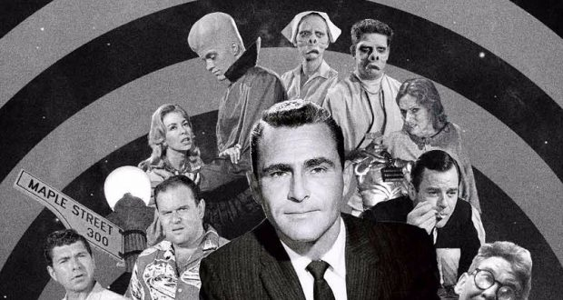 Image of Rod Serling and characters from The Twilight Zone.