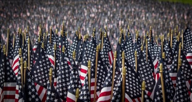 Image of a row of American flags.