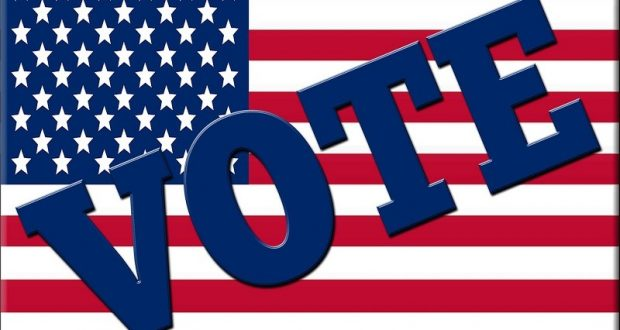 Image of a USA flag with the word vote on it.