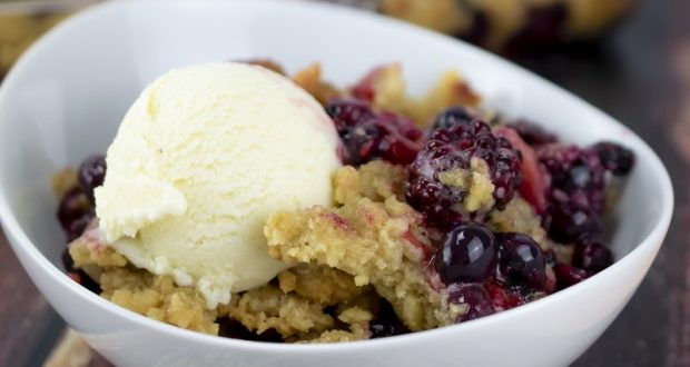 Image of a berry cobbler.