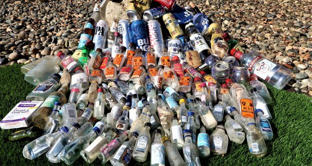 Bottles and cold medicine packaging collected along the five-mile stretch of Highway 49