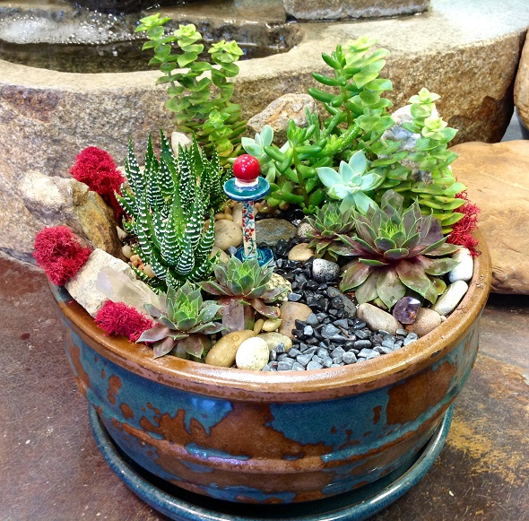 Mini garden with red accents