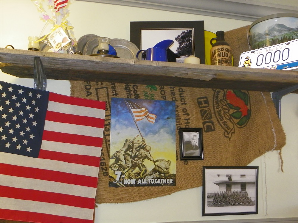 Coarsegold Miners Grill ledge and wall holds memorabilia and Iwo Jima image for Veterans Day 2013 - photo by Kellie Flanagan