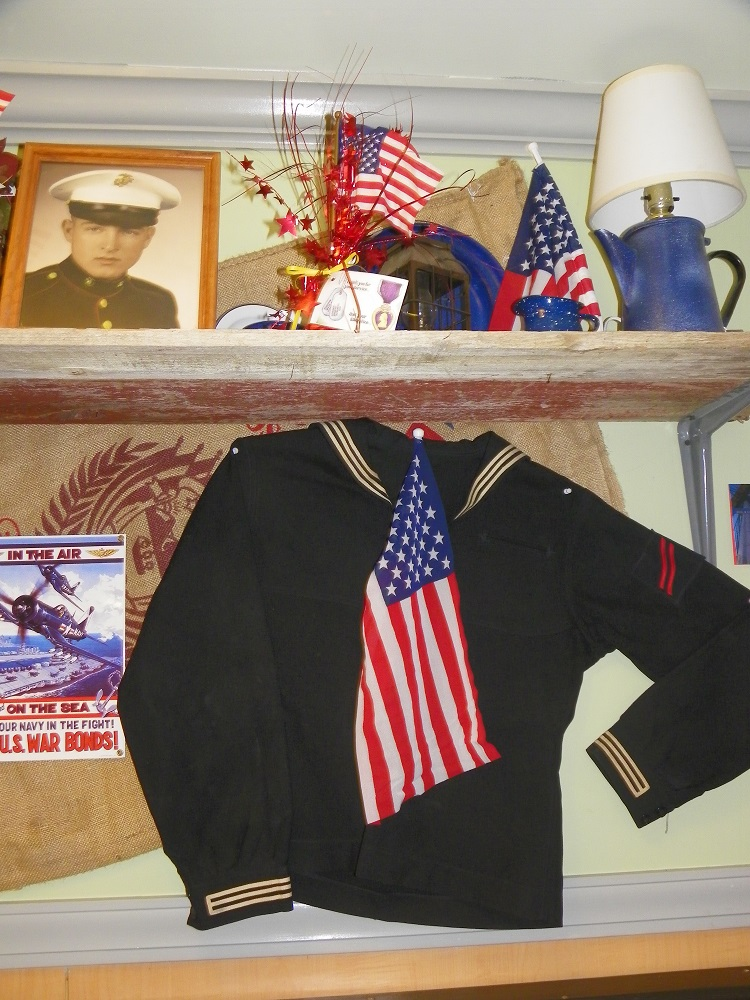 Coarsegold Miners Grill wall bedecked with Navy service memorabilia for Veterans Day 2013 - photo by Kellie Flanagan