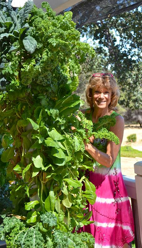 Jannai Pero with Tower Garden at home - photo courtesy Jannai Pero