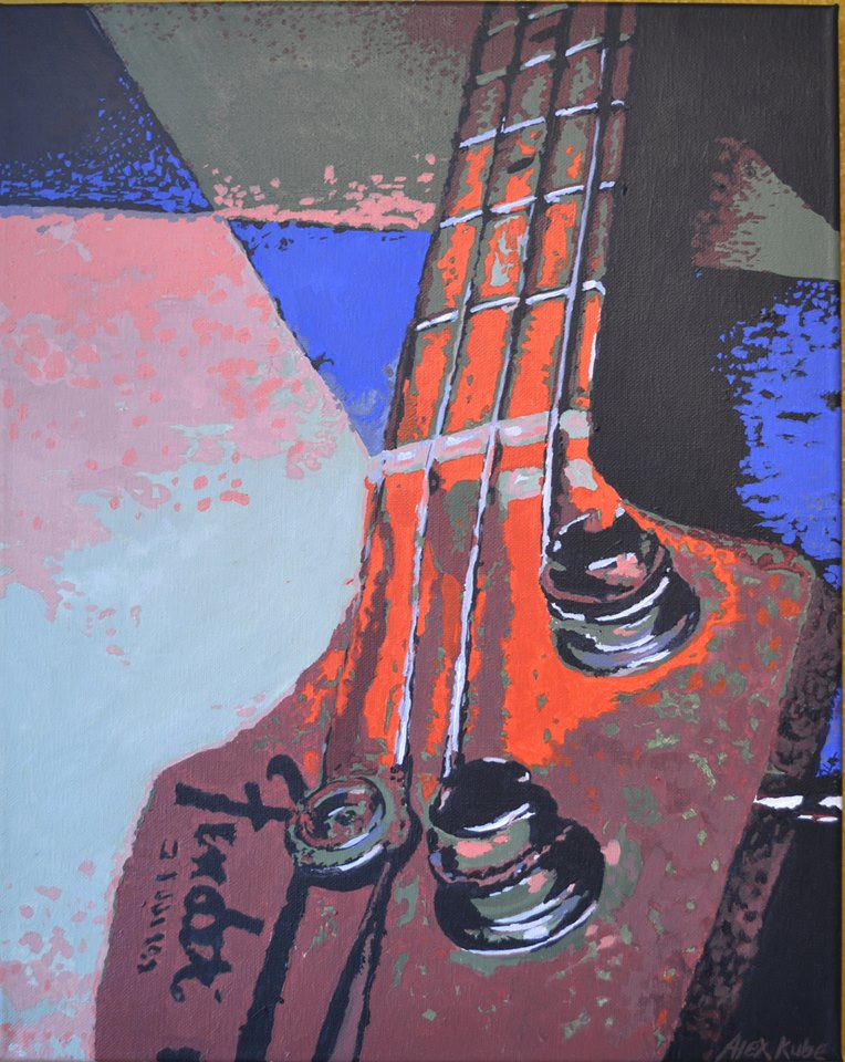 Moment Gallery - P Bass original acrylic painting by Alexandra Kube - June 2013 - Photo Courtesy of The Moment Gallery