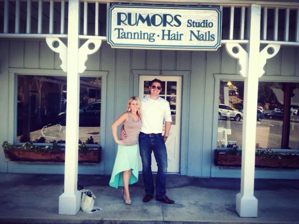 Crystal Richards and spouse outside Rumors
