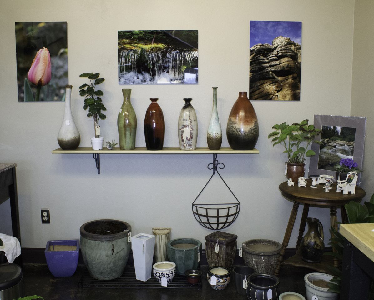 Solstice Gallery Plants and Gifts - wall of vases and vessels - Photo by Virginia Lazar