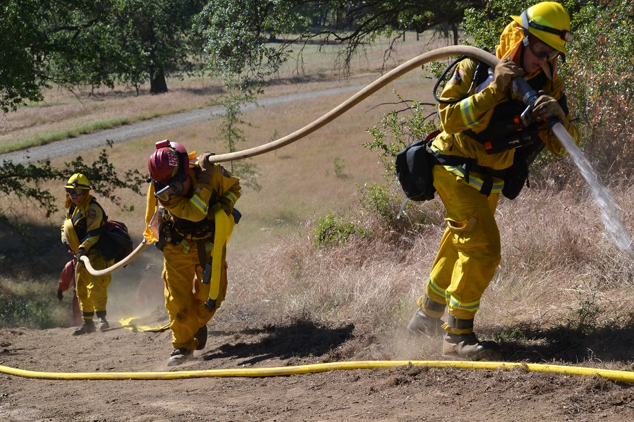 Hose lay up a steep hill
