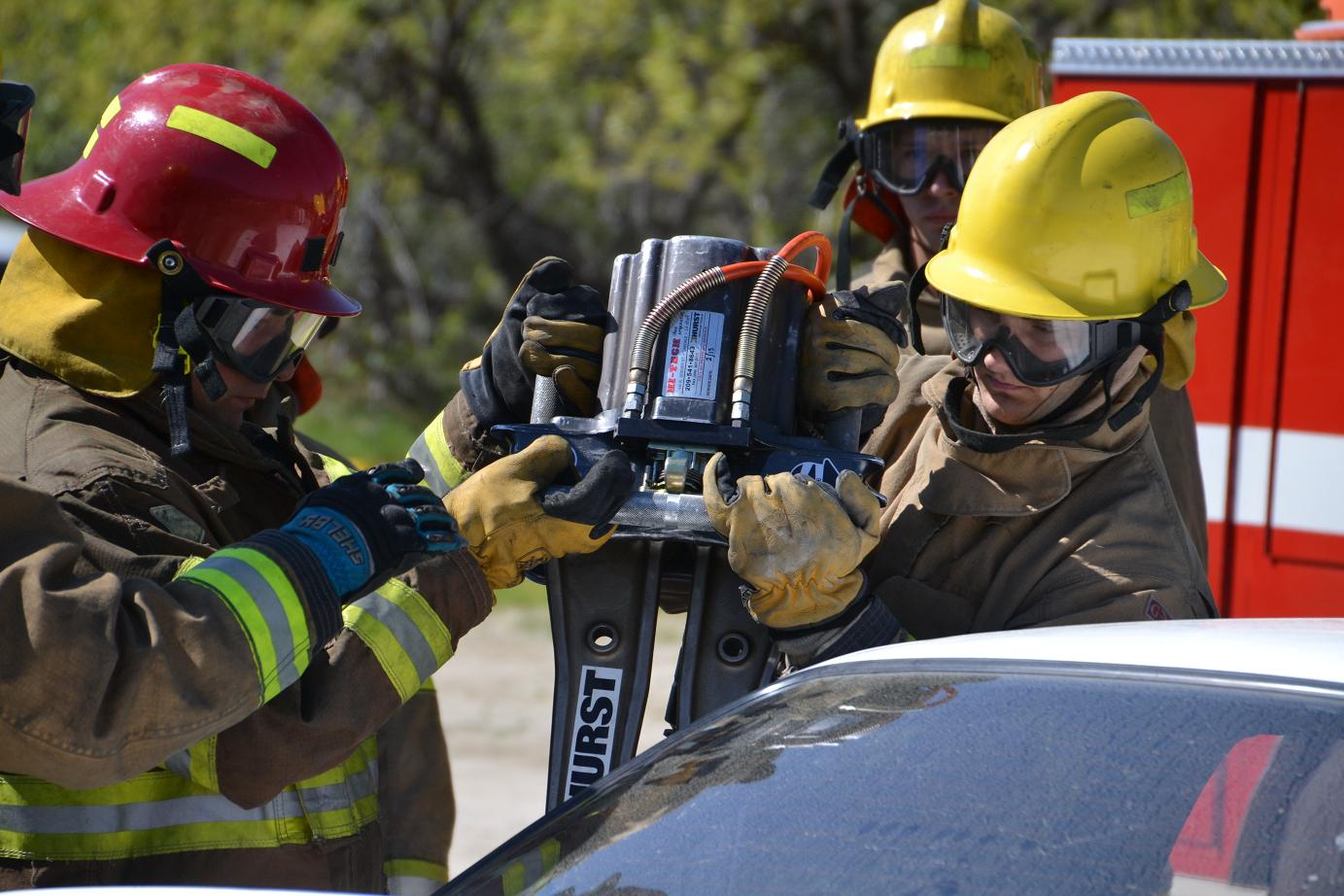 Learning to use the Jaws of Life - photo by Gina Clugston
