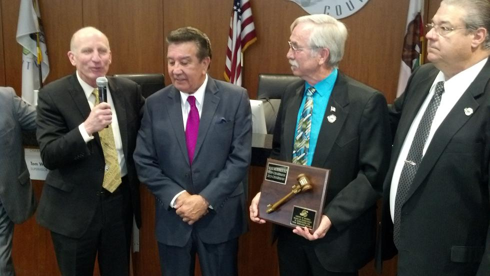 Max Rodriguez presented with plaque at BOS meeting 1-14-14 - photo by Dave Wolin