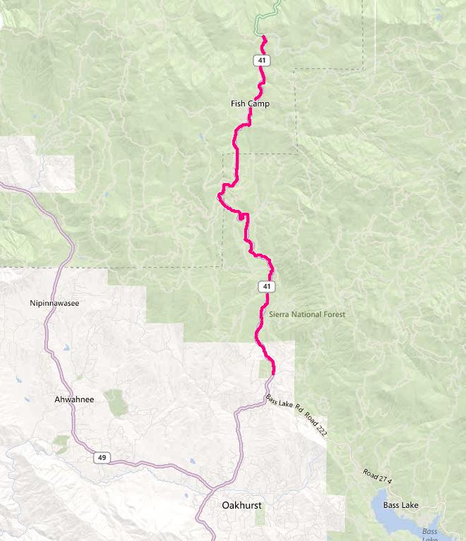 Road Work 9-17-12 to October Oakhurst to Fish Camp Map