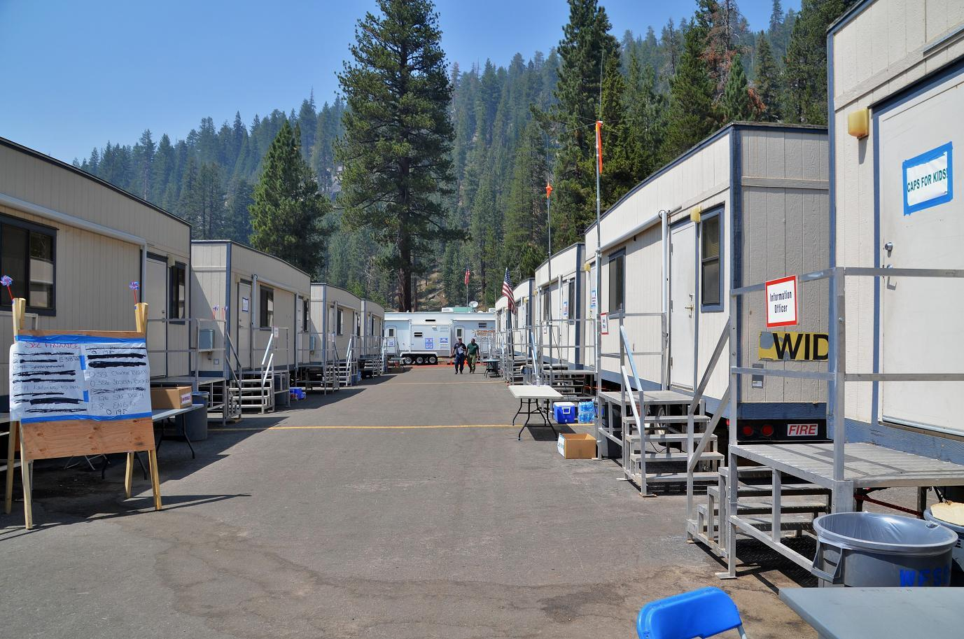 Trailer Row at Aspen Fire Camp - photo by Gina Clugston