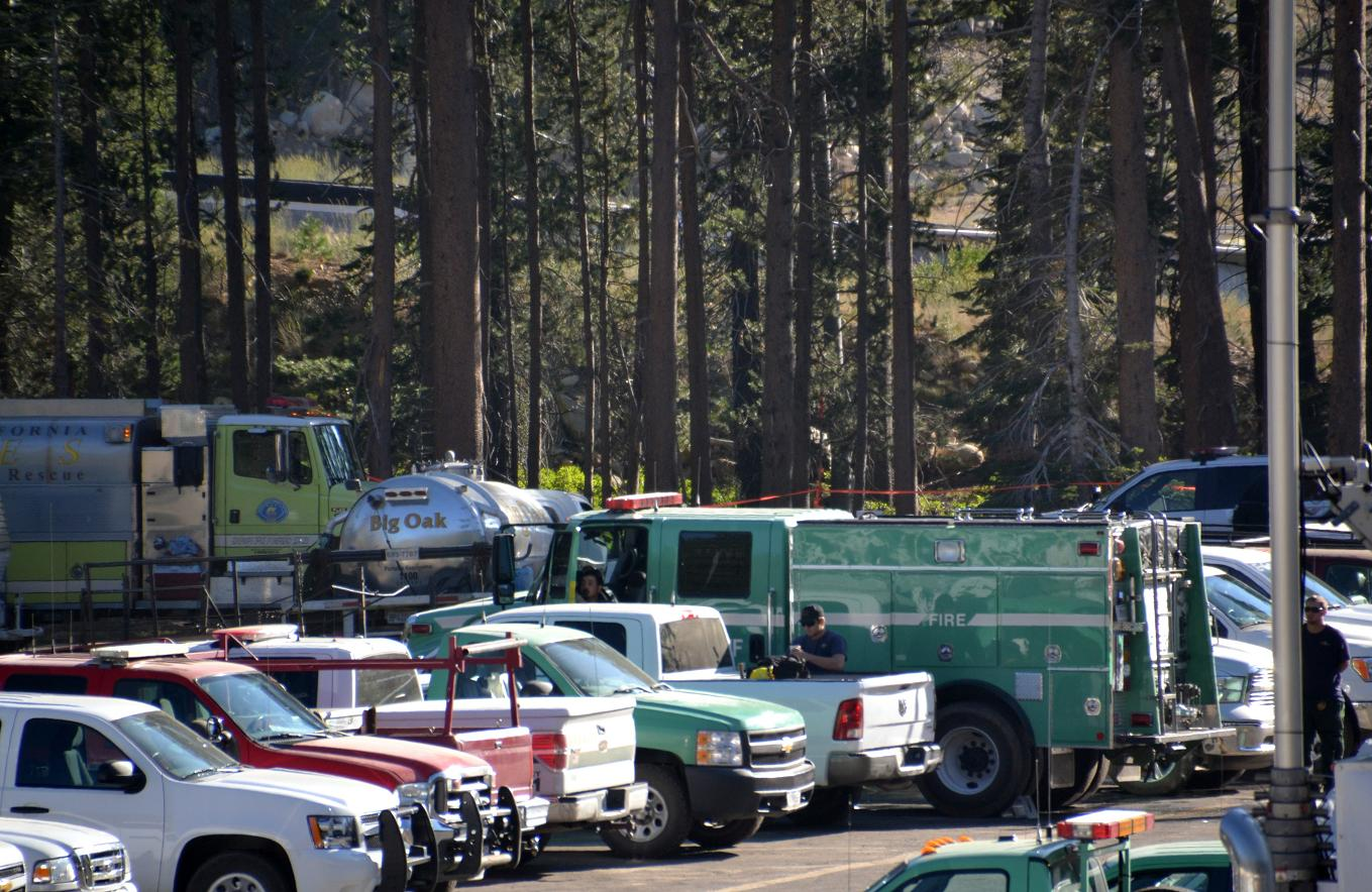 Trucks in fire camp - photo by Gina Clugston