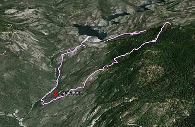Map of Aspen Fire as of 11 am July 25 - wildfiretoday