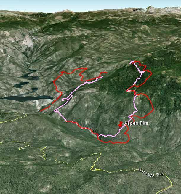 Map of Aspen Fire from Madera County side - image from wildfiretoday