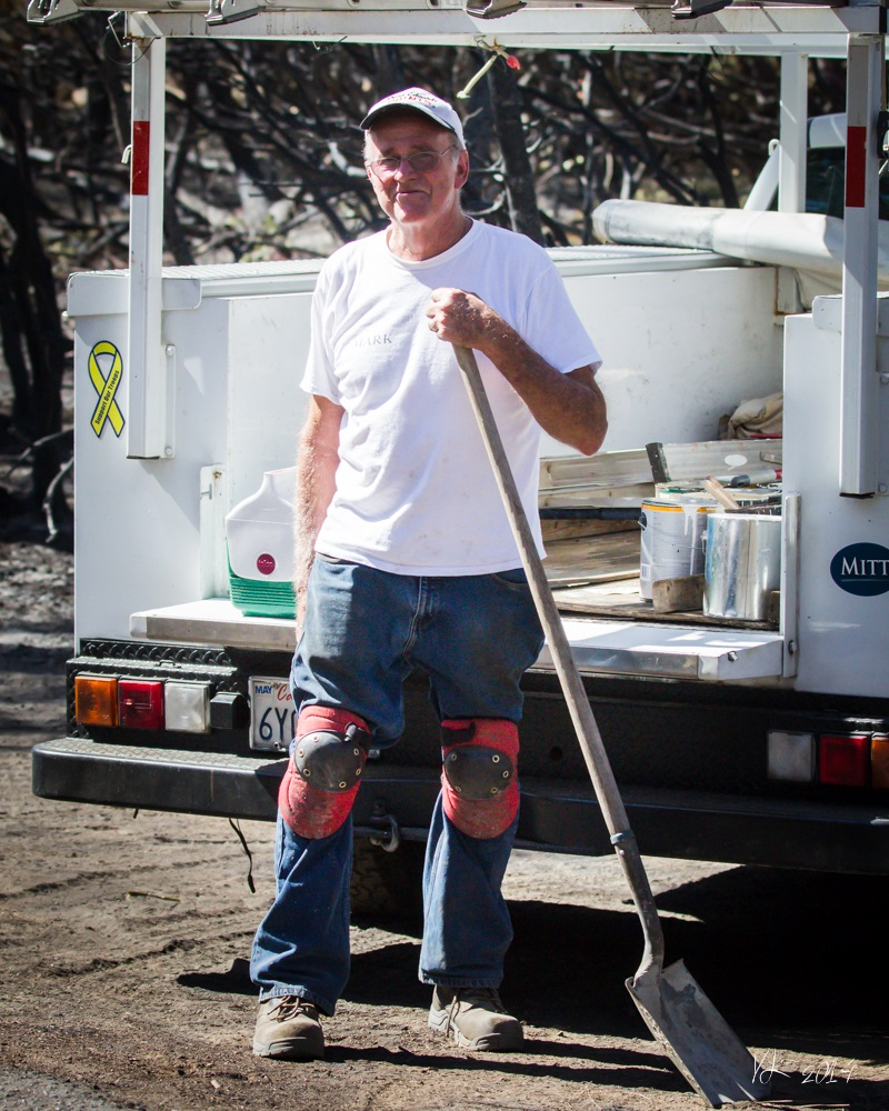 Courtney Fire - Mark of Bass Lake Heights Mutual Water Co - photo by Virginia Lazar Sept. 16 2014