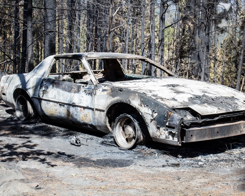 Courtney Fire - burned out car - photo by Virginia Lazar Sept. 16 2014