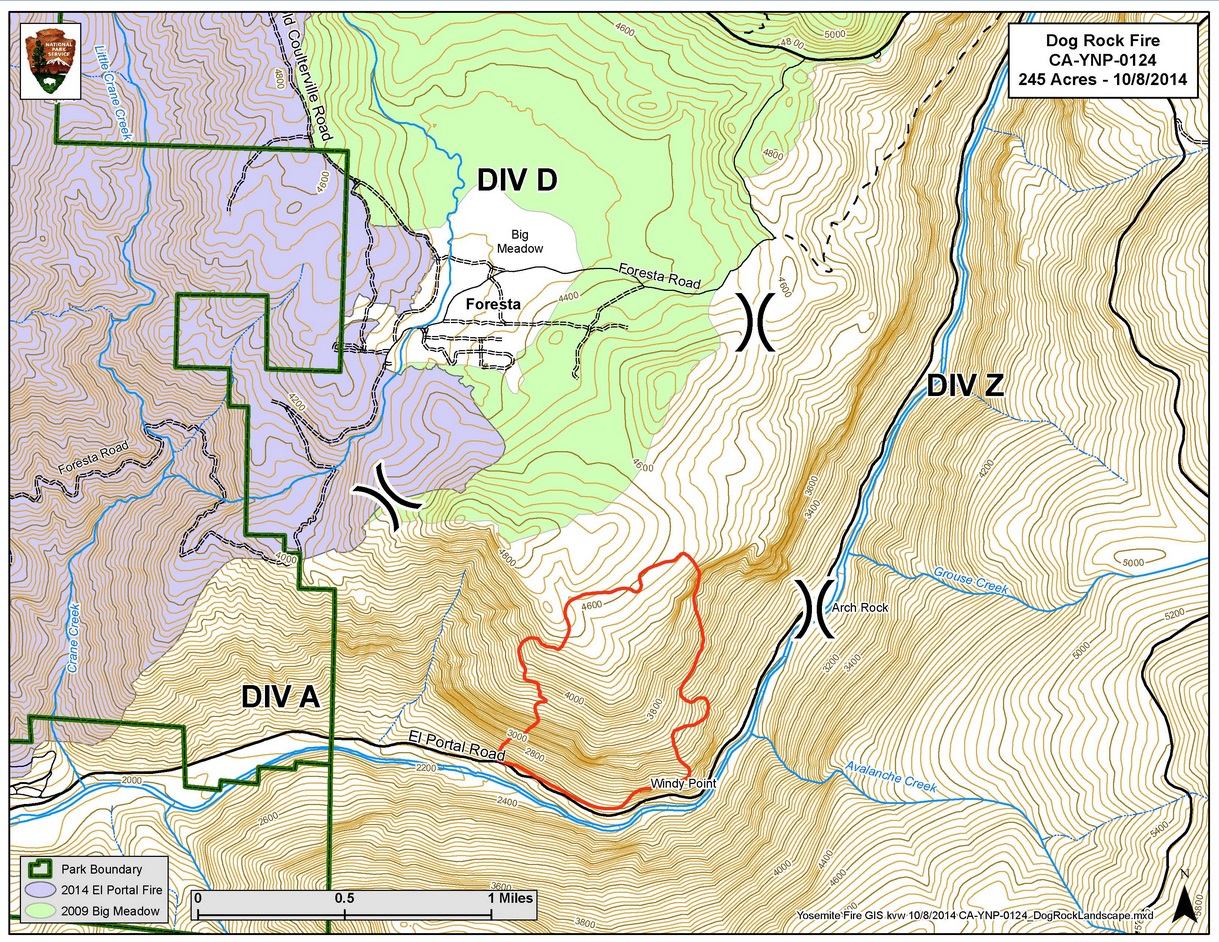 Map of Dog Rock Fire 10-9-14